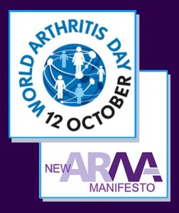 2 images interlocking: ARMA logo and World Arthritis Day Logo