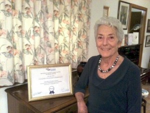 image of Jean Miller with her certificate