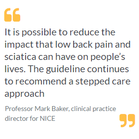 NICE publishes updated advice on treating low back pain